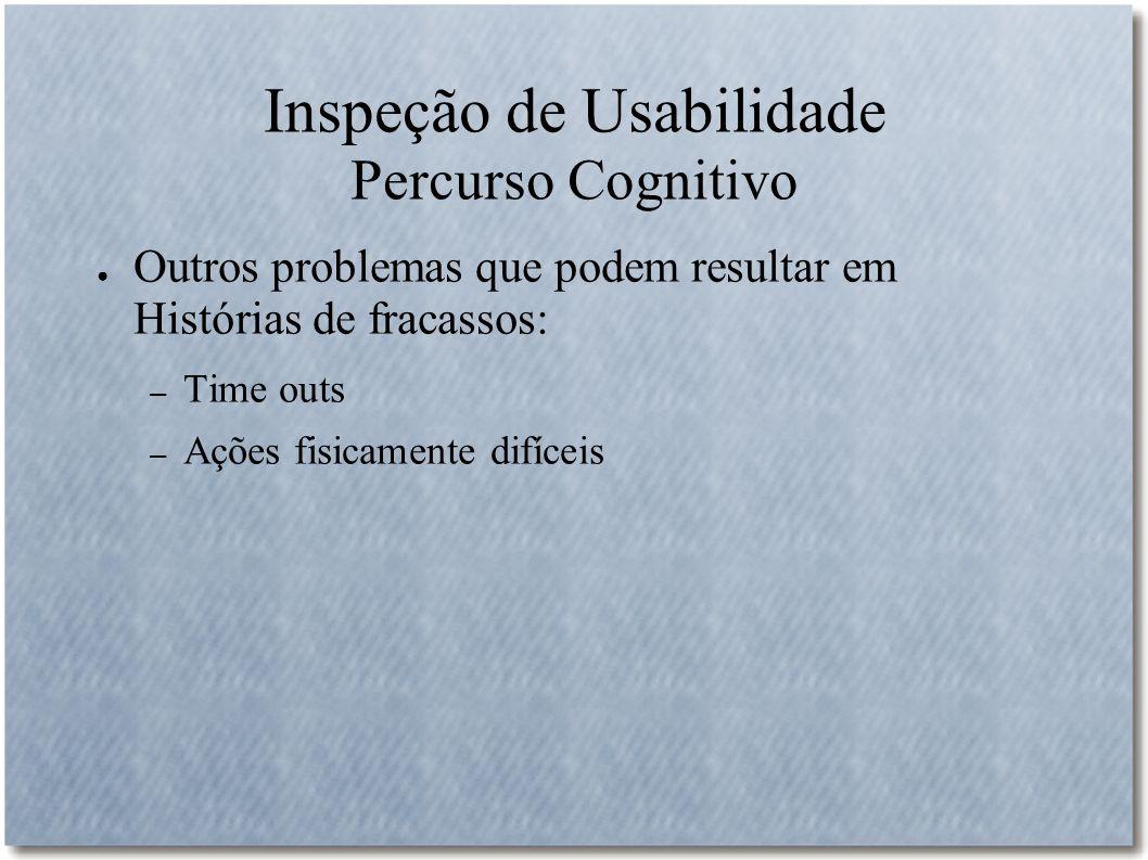 Inspeção de Usabilidade Percurso Cognitivo Outros problemas que podem resultar em Histórias de fracassos: – Time outs – Ações fisicamente difíceis