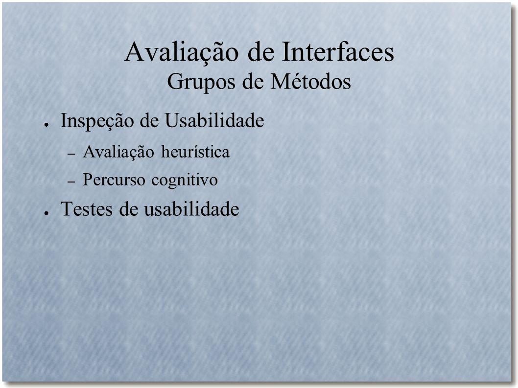 Avaliação de Interfaces Grupos de Métodos Inspeção de Usabilidade – Avaliação heurística – Percurso cognitivo Testes de usabilidade