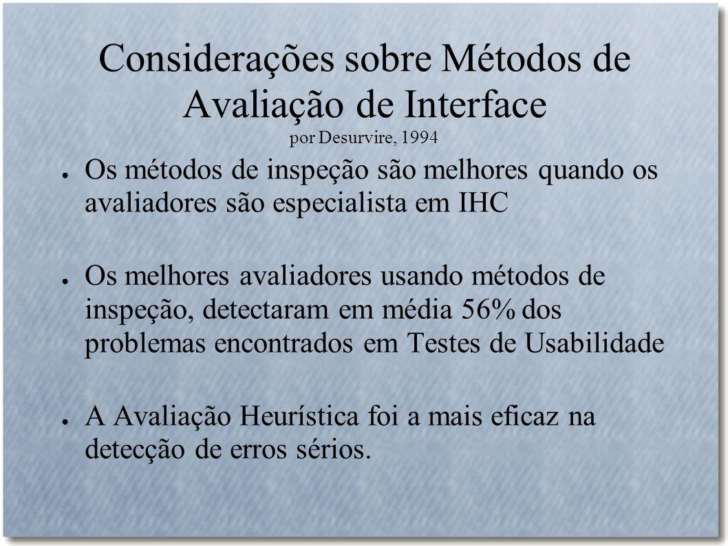Considerações sobre Métodos de Avaliação de Interface por Desurvire, 1994 Os métodos de inspeção são melhores quando os avaliadores são especialista e