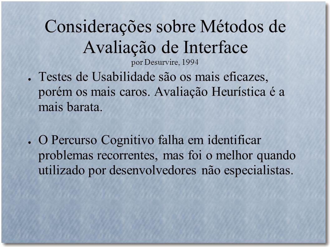 Considerações sobre Métodos de Avaliação de Interface por Desurvire, 1994 Testes de Usabilidade são os mais eficazes, porém os mais caros. Avaliação H