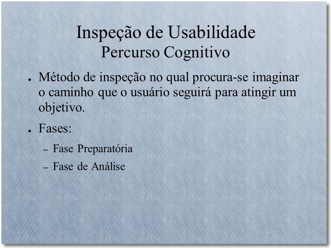 Inspeção de Usabilidade Percurso Cognitivo Método de inspeção no qual procura-se imaginar o caminho que o usuário seguirá para atingir um objetivo. Fa