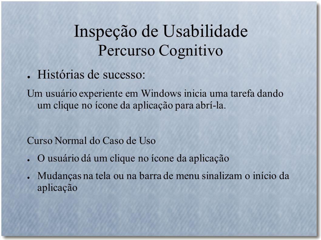 Inspeção de Usabilidade Percurso Cognitivo Histórias de sucesso: Um usuário experiente em Windows inicia uma tarefa dando um clique no ícone da aplica