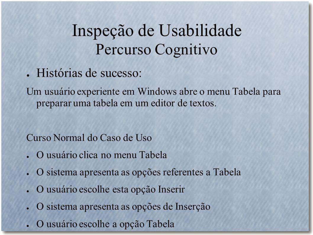 Inspeção de Usabilidade Percurso Cognitivo Histórias de sucesso: Um usuário experiente em Windows abre o menu Tabela para preparar uma tabela em um ed
