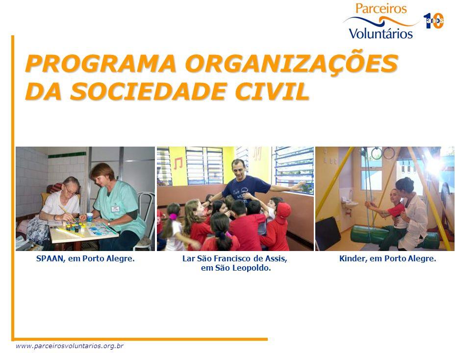 www.parceirosvoluntarios.org.br PROGRAMA ORGANIZAÇÕES DA SOCIEDADE CIVIL SPAAN, em Porto Alegre. Lar São Francisco de Assis, em São Leopoldo. Kinder,