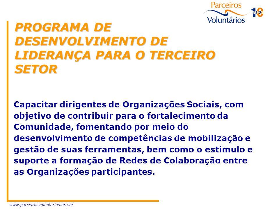 www.parceirosvoluntarios.org.br PROGRAMA DE DESENVOLVIMENTO DE LIDERANÇA PARA O TERCEIRO SETOR Capacitar dirigentes de Organizações Sociais, com objet