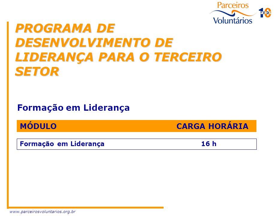 www.parceirosvoluntarios.org.br PROGRAMA DE DESENVOLVIMENTO DE LIDERANÇA PARA O TERCEIRO SETOR Formação em Liderança MÓDULO CARGA HORÁRIA Formação em