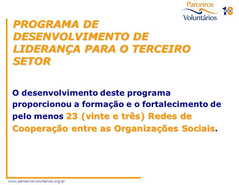 www.parceirosvoluntarios.org.br PROGRAMA DE DESENVOLVIMENTO DE LIDERANÇA PARA O TERCEIRO SETOR 23 (vinte e três) Redes de Cooperaçãoentre as Organizaç