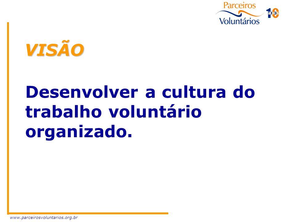 www.parceirosvoluntarios.org.br MISSÃO Promover, ampliar e qualificar o atendimento às demandas sociais, pelo trabalho voluntário organizado, visando à melhoria da qualidade de vida no Rio Grande do Sul.