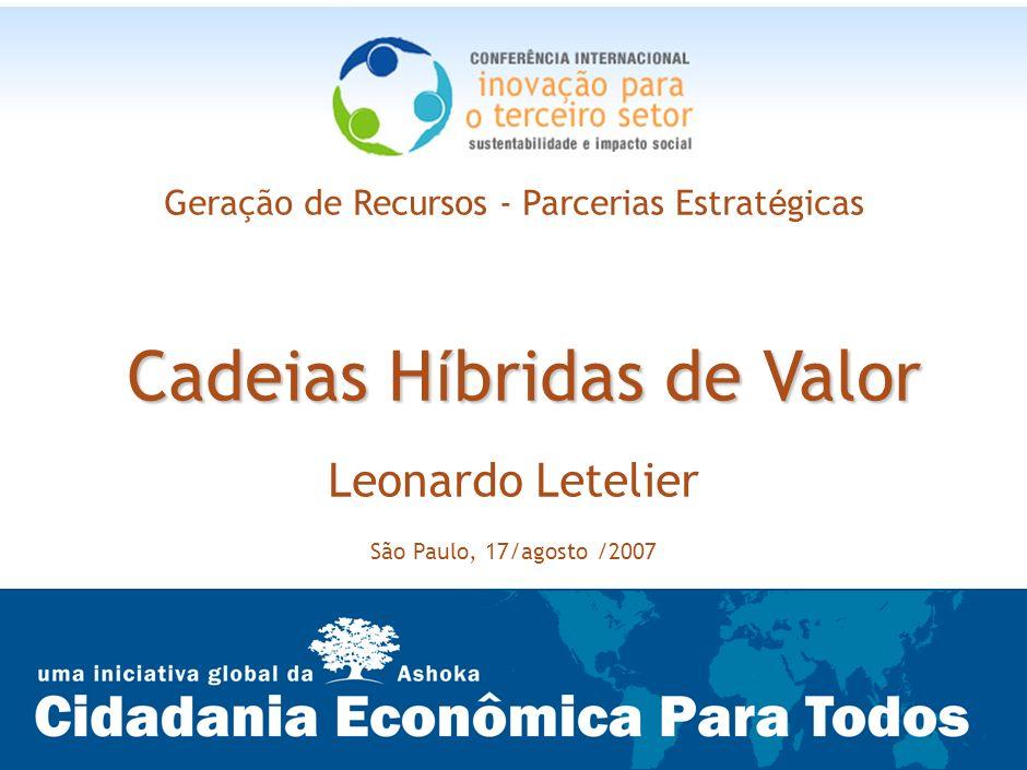 22 Cadeias H í bridas de Valor Geração de Recursos - Parcerias Estrat é gicas Cadeias H í bridas de Valor Leonardo Letelier São Paulo, 17/agosto /2007