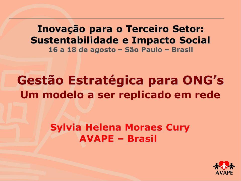 Inovação para o Terceiro Setor: Sustentabilidade e Impacto Social 16 a 18 de agosto – São Paulo – Brasil Sylvia Helena Moraes Cury AVAPE – Brasil Gest
