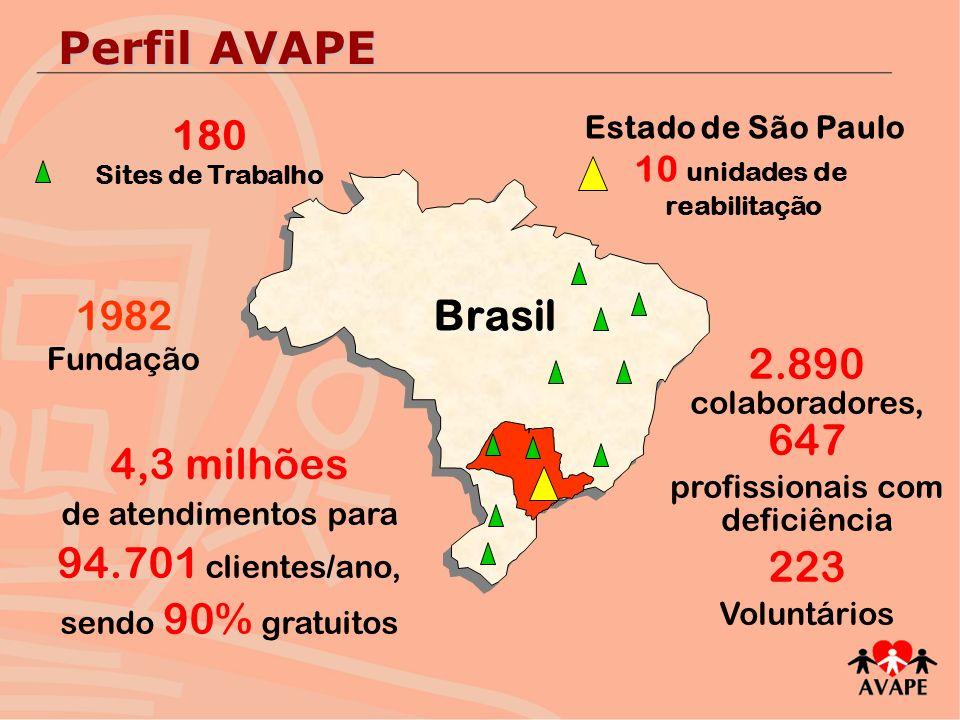 Brasil Estado de São Paulo 10 unidades de reabilitação 180 Sites de Trabalho 4,3 milhões de atendimentos para 94.701 clientes/ano, sendo 90% gratuitos