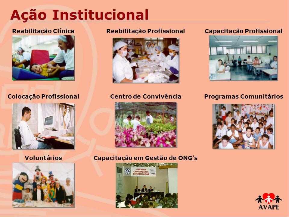 Ação Institucional Reabilitação ClínicaReabilitação ProfissionalCapacitação Profissional Colocação ProfissionalCentro de ConvivênciaProgramas Comunitá