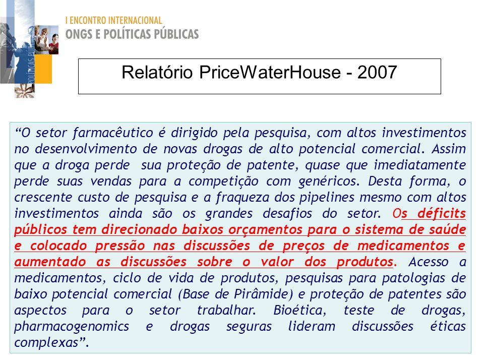 Relatório PriceWaterHouse - 2007 O setor farmacêutico é dirigido pela pesquisa, com altos investimentos no desenvolvimento de novas drogas de alto potencial comercial.