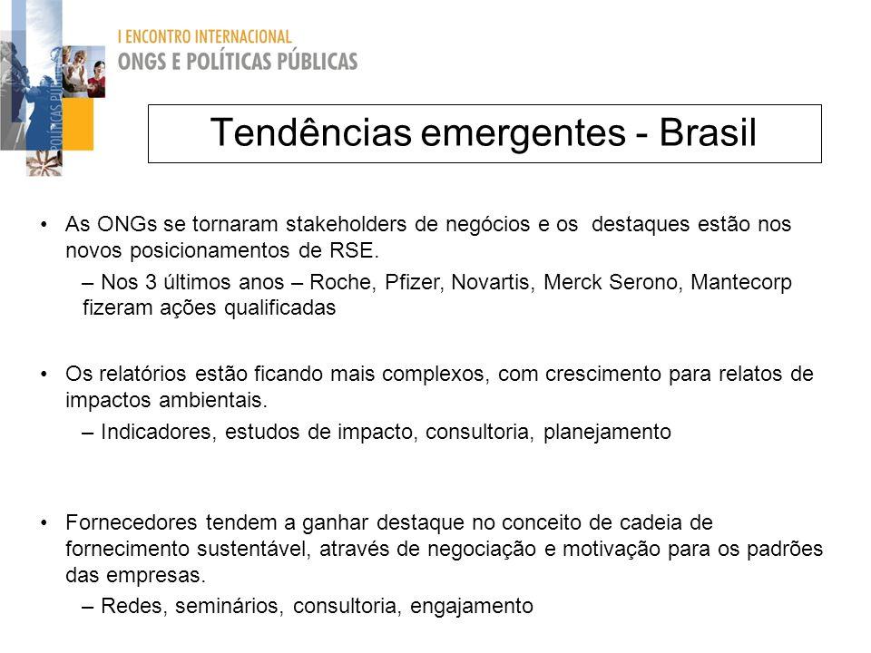 Tendências emergentes - Brasil As ONGs se tornaram stakeholders de negócios e os destaques estão nos novos posicionamentos de RSE. – Nos 3 últimos ano