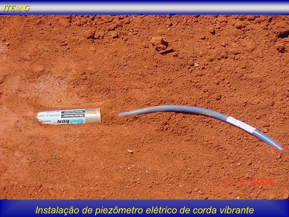 Instalação de piezômetro elétrico de corda vibrante ITEM G