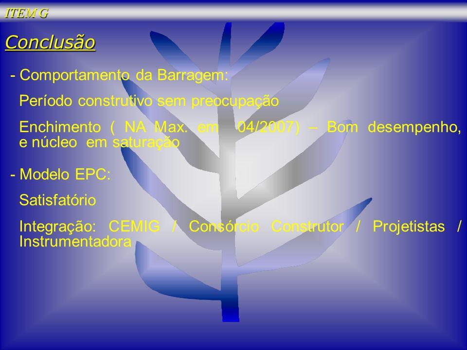 Conclusão - Comportamento da Barragem: Período construtivo sem preocupação Enchimento ( NA Max. em 04/2007) – Bom desempenho, e núcleo em saturação -