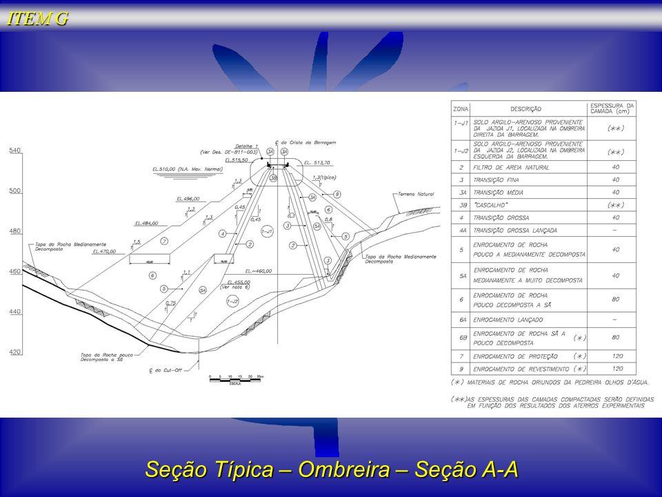 Seção Típica – Ombreira – Seção A-A ITEM G
