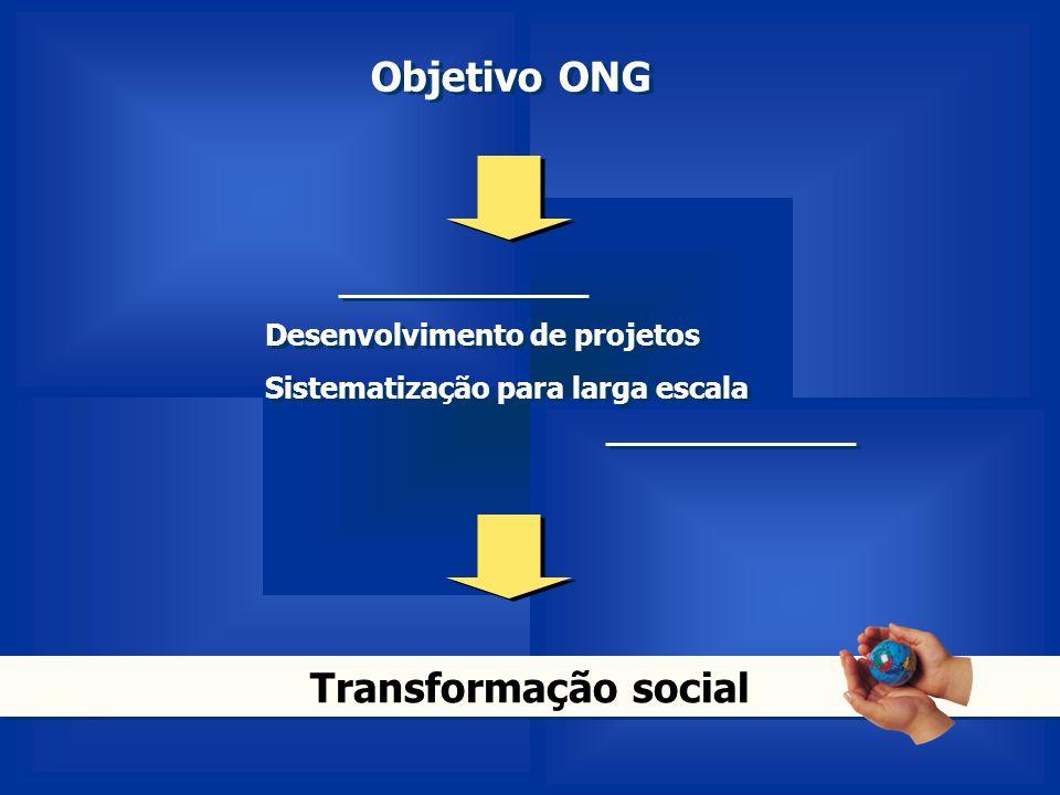 Objetivo ONG Desenvolvimento de projetos Sistematização para larga escala Desenvolvimento de projetos Sistematização para larga escala Transformação s