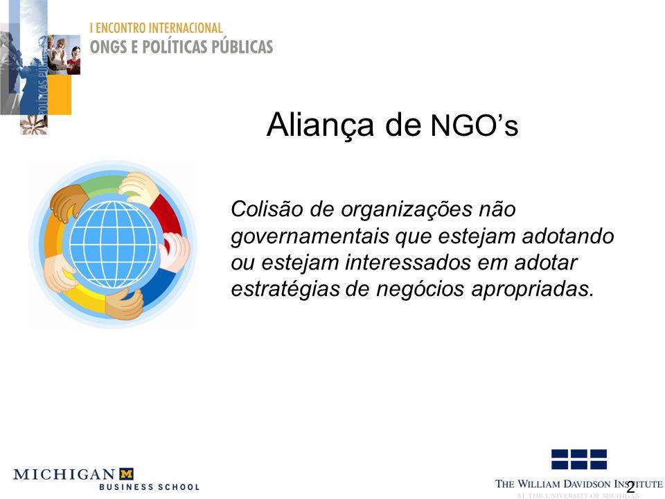 Aliança de NGOs 2 Colisão de organizações não governamentais que estejam adotando ou estejam interessados em adotar estratégias de negócios apropriadas.