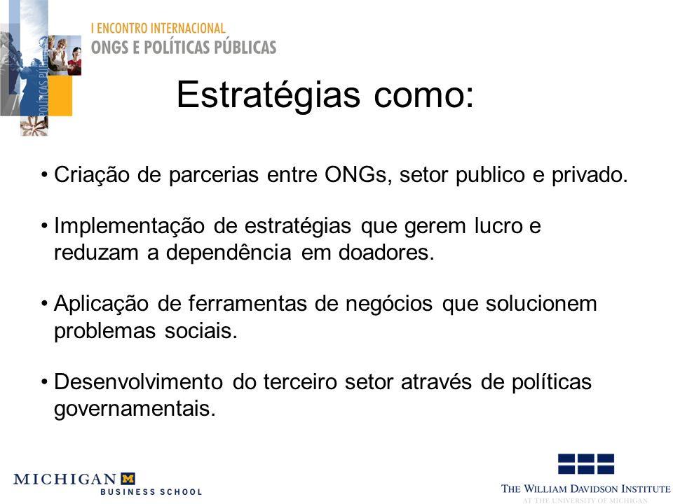 Estratégias como: Criação de parcerias entre ONGs, setor publico e privado.