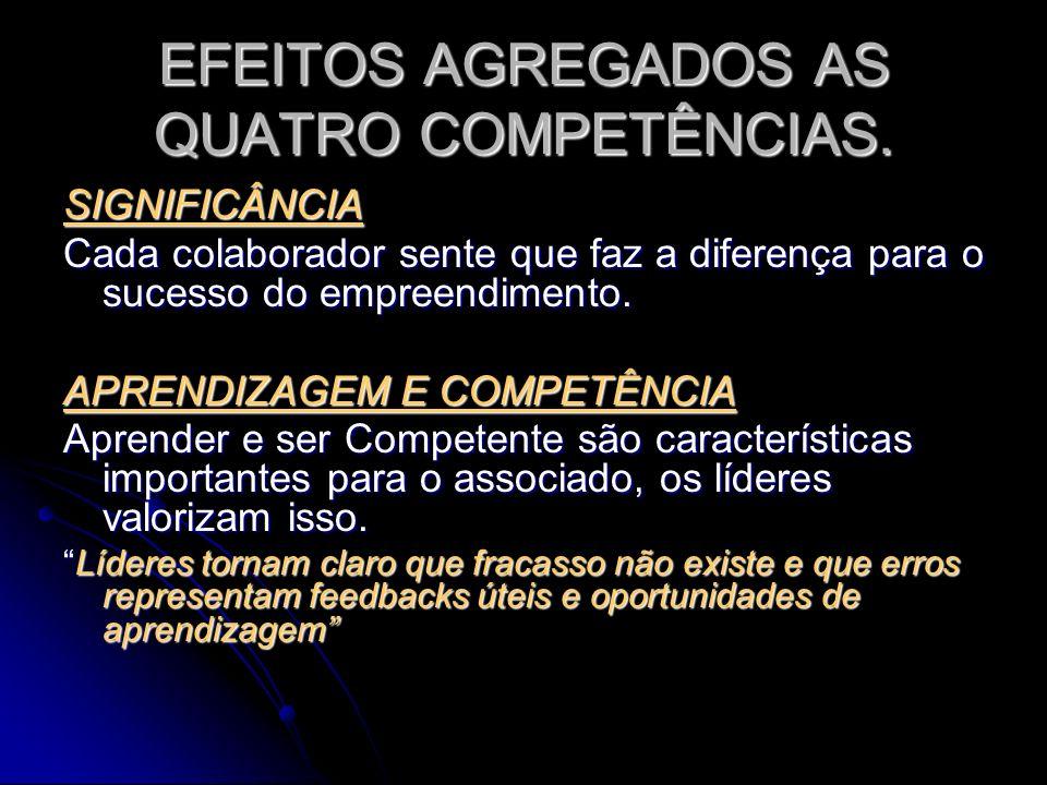 EFEITOS AGREGADOS AS QUATRO COMPETÊNCIAS. SIGNIFICÂNCIA Cada colaborador sente que faz a diferença para o sucesso do empreendimento. APRENDIZAGEM E CO