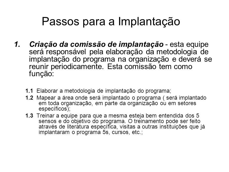 Passos para a Implantação 1.Criação da comissão de implantação - esta equipe será responsável pela elaboração da metodologia de implantação do program