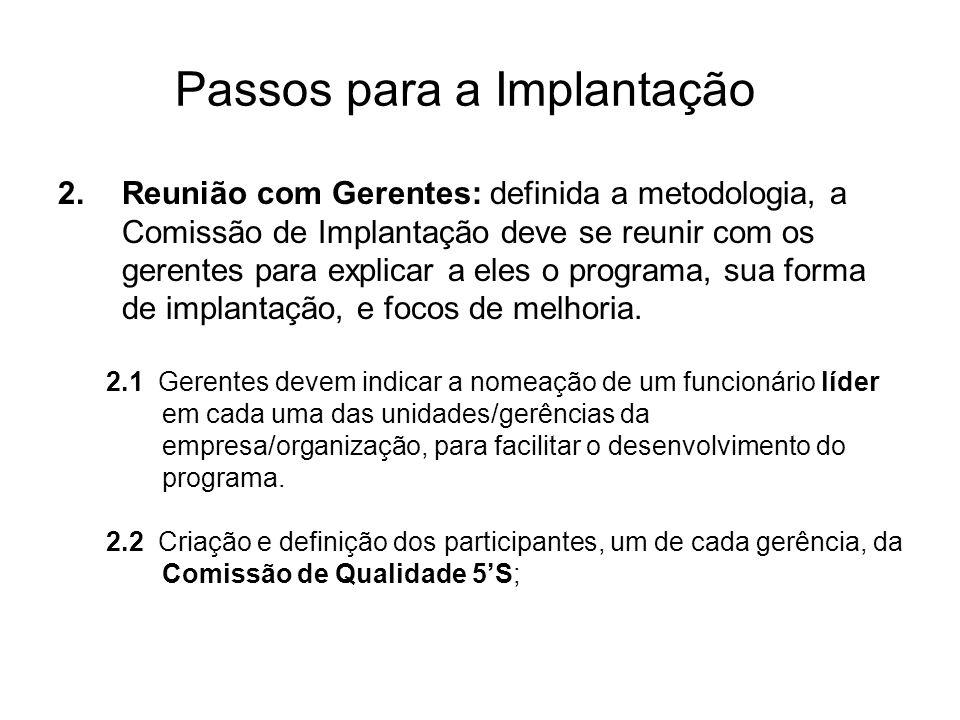 Passos para a Implantação 2.Reunião com Gerentes: definida a metodologia, a Comissão de Implantação deve se reunir com os gerentes para explicar a ele