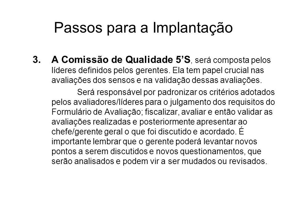 Passos para a Implantação 3.A Comissão de Qualidade 5S, será composta pelos líderes definidos pelos gerentes. Ela tem papel crucial nas avaliações dos