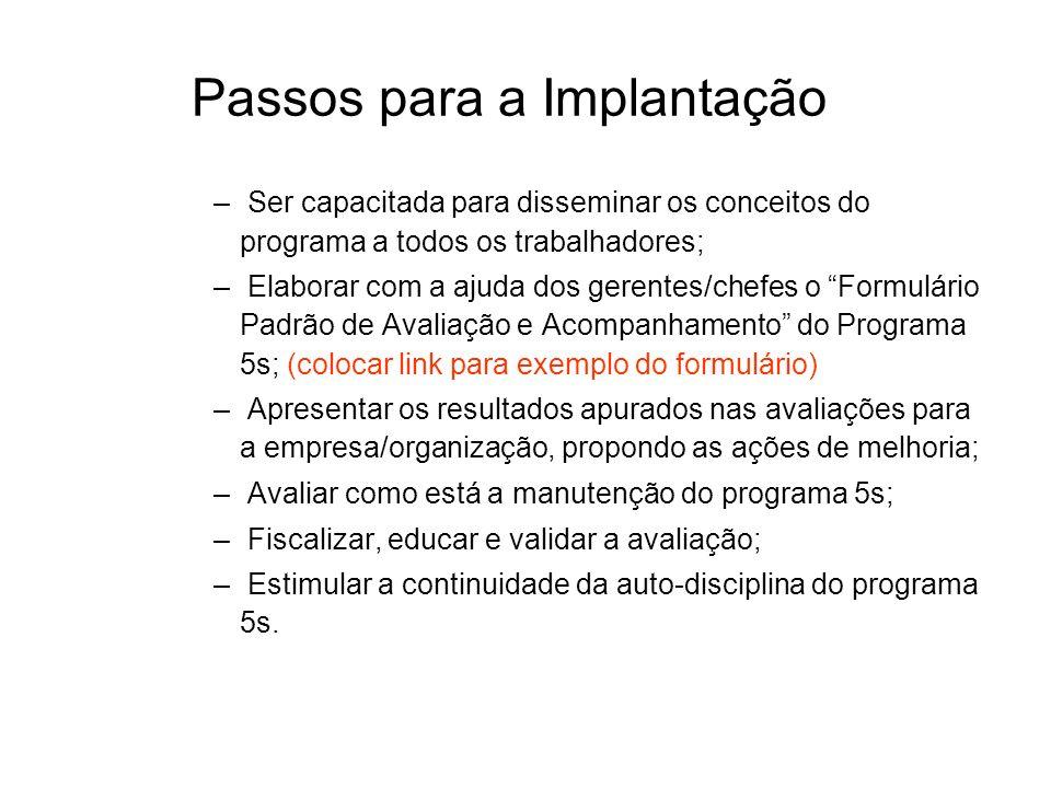 Passos para a Implantação – Ser capacitada para disseminar os conceitos do programa a todos os trabalhadores; – Elaborar com a ajuda dos gerentes/chef