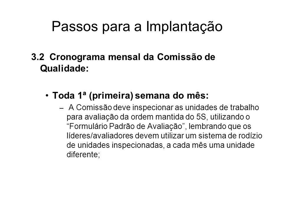 Passos para a Implantação 3.2 Cronograma mensal da Comissão de Qualidade: Toda 1ª (primeira) semana do mês: – A Comissão deve inspecionar as unidades
