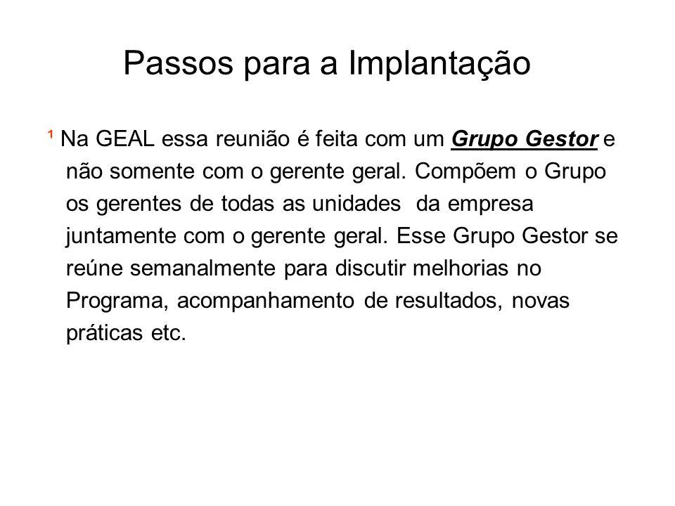 Passos para a Implantação ¹ Na GEAL essa reunião é feita com um Grupo Gestor e não somente com o gerente geral. Compõem o Grupo os gerentes de todas a