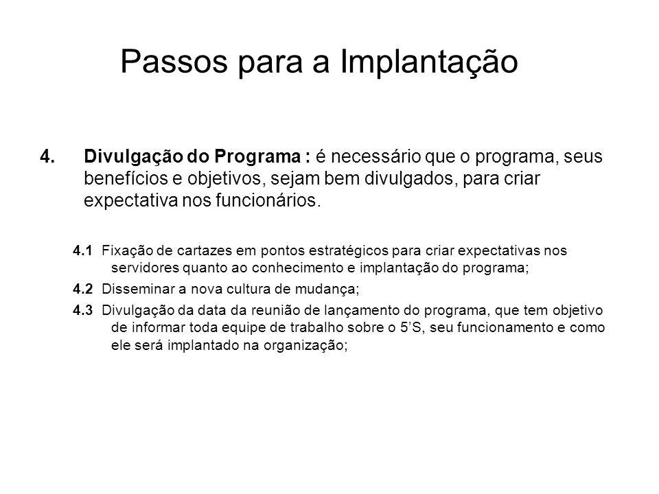 Passos para a Implantação 4.Divulgação do Programa : é necessário que o programa, seus benefícios e objetivos, sejam bem divulgados, para criar expect