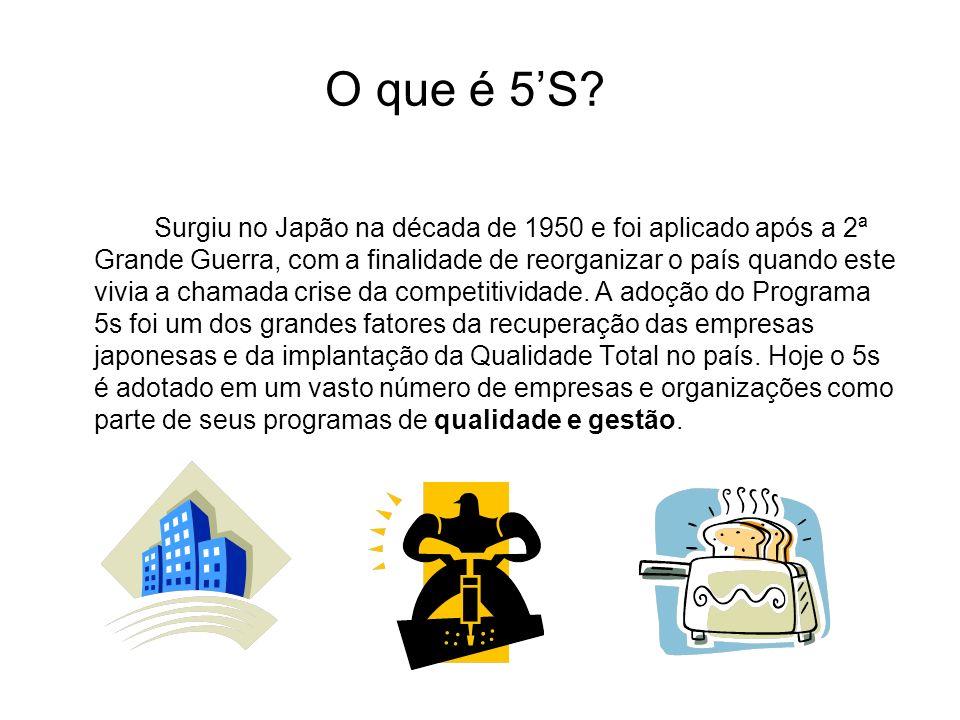 O que é 5S? Surgiu no Japão na década de 1950 e foi aplicado após a 2ª Grande Guerra, com a finalidade de reorganizar o país quando este vivia a chama