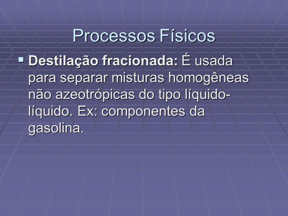 Processos Físicos Destilação fracionada: É usada para separar misturas homogêneas não azeotrópicas do tipo líquido- líquido. Ex: componentes da gasoli