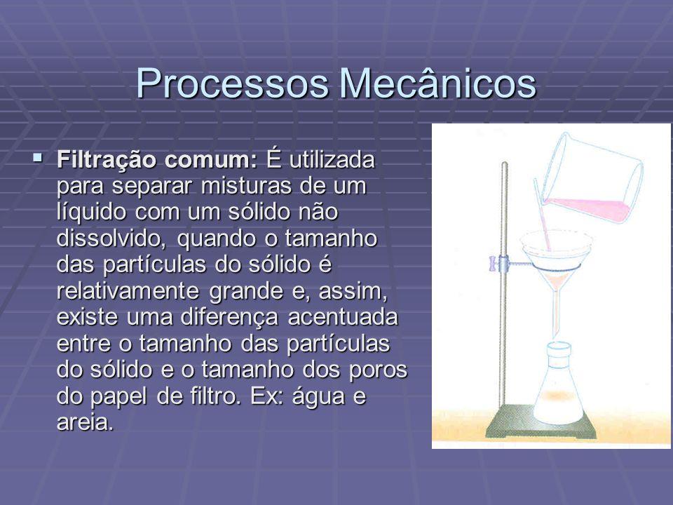 Processos Mecânicos Filtração a vácuo: É utilizada para separar misturas de um líquido com um sólido não dissolvido, quando o tamanho das partículas do sólido não é muito grande e formam um pasta entupindo os poros do papel de filtro caso seja feita a filtração comum.