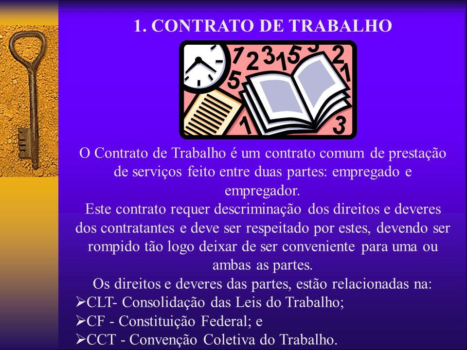1. CONTRATO DE TRABALHO O Contrato de Trabalho é um contrato comum de prestação de serviços feito entre duas partes: empregado e empregador. Este cont