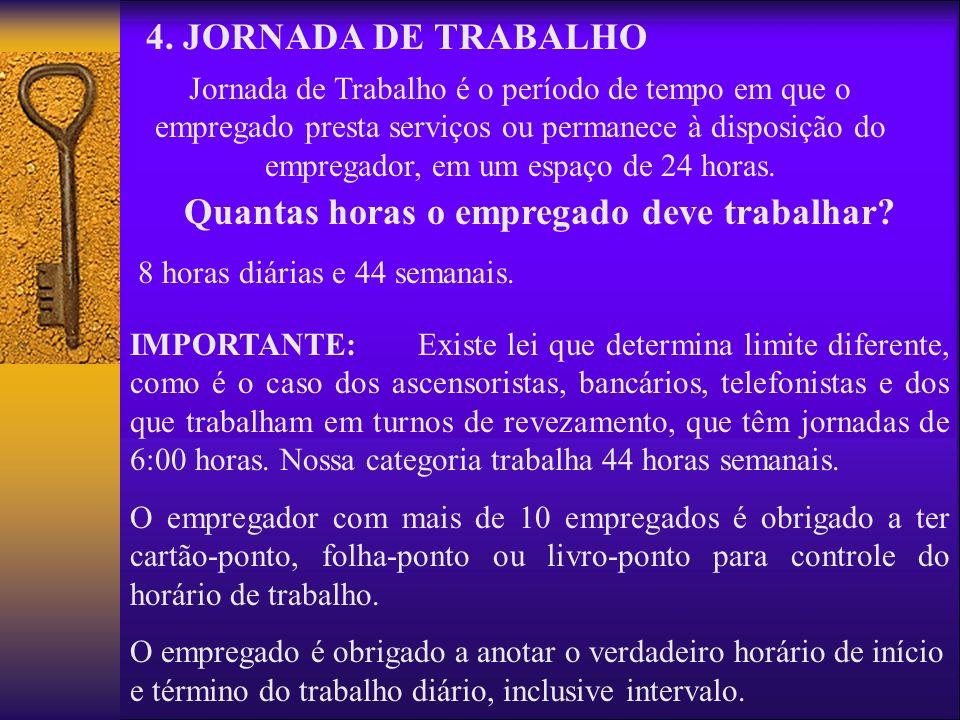 4. JORNADA DE TRABALHO Jornada de Trabalho é o período de tempo em que o empregado presta serviços ou permanece à disposição do empregador, em um espa