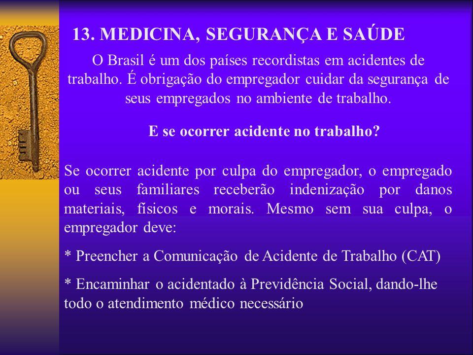 13. MEDICINA, SEGURANÇA E SAÚDE O Brasil é um dos países recordistas em acidentes de trabalho. É obrigação do empregador cuidar da segurança de seus e