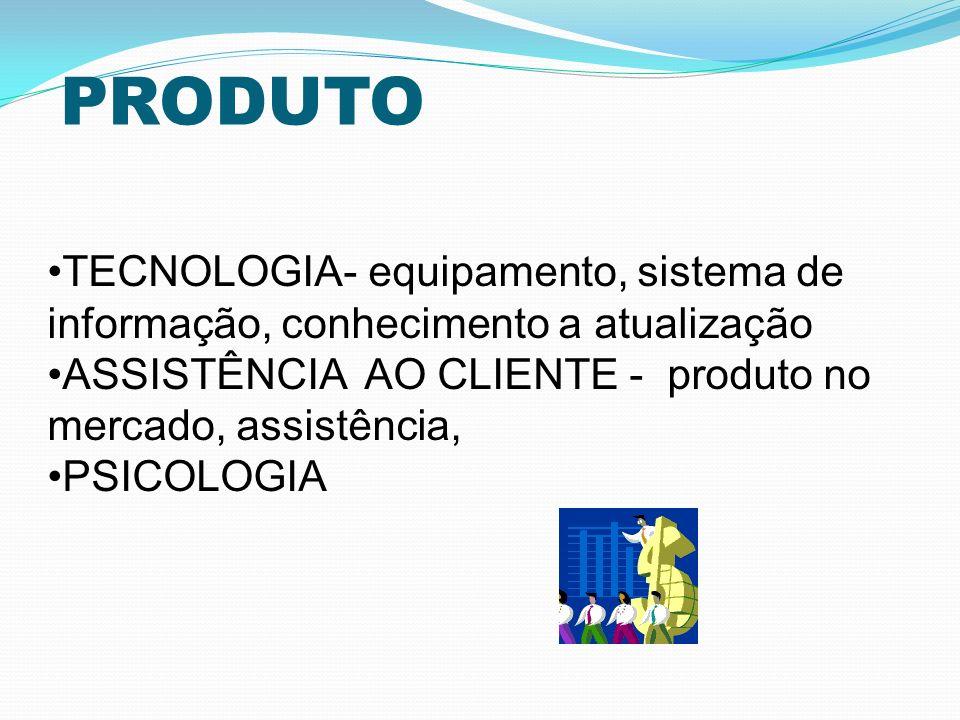 PRODUTO TECNOLOGIA- equipamento, sistema de informação, conhecimento a atualização ASSISTÊNCIA AO CLIENTE - produto no mercado, assistência, PSICOLOGI