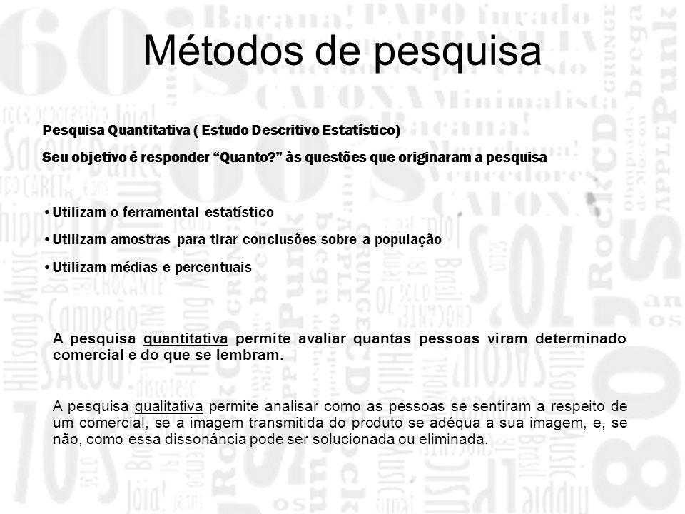 Pesquisa Quantitativa ( Estudo Descritivo Estatístico) Seu objetivo é responder Quanto? às questões que originaram a pesquisa Utilizam o ferramental e
