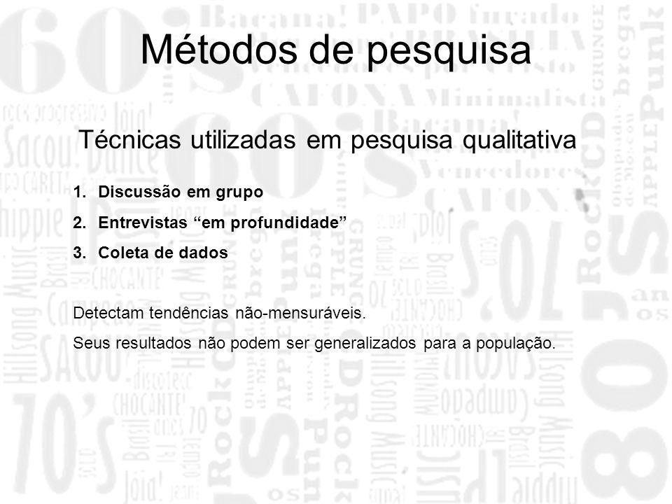 1.Discussão em grupo 2.Entrevistas em profundidade 3.Coleta de dados Detectam tendências não-mensuráveis. Seus resultados não podem ser generalizados