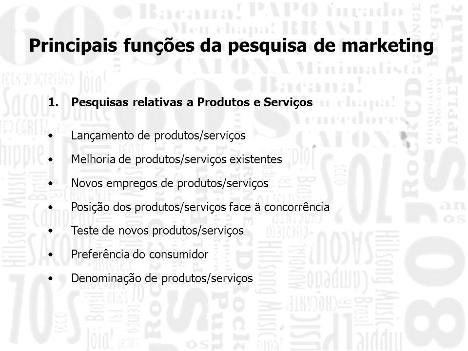 Principais funções da pesquisa de marketing 1.Pesquisas relativas a Produtos e Serviços Lançamento de produtos/serviços Melhoria de produtos/serviços