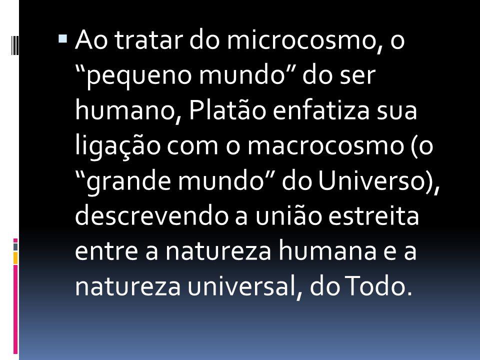 Ao tratar do microcosmo, o pequeno mundo do ser humano, Platão enfatiza sua ligação com o macrocosmo (o grande mundo do Universo), descrevendo a união