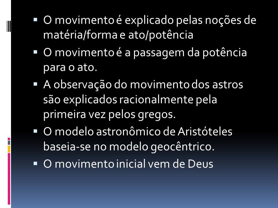 O movimento é explicado pelas noções de matéria/forma e ato/potência O movimento é a passagem da potência para o ato. A observação do movimento dos as