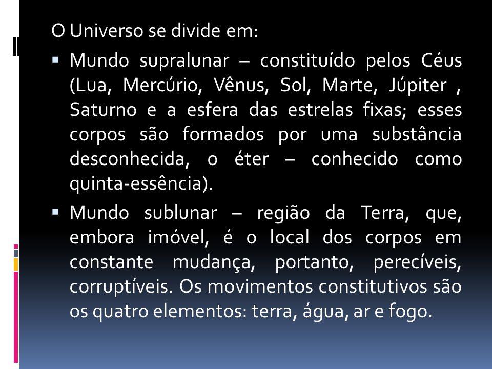O Universo se divide em: Mundo supralunar – constituído pelos Céus (Lua, Mercúrio, Vênus, Sol, Marte, Júpiter, Saturno e a esfera das estrelas fixas;