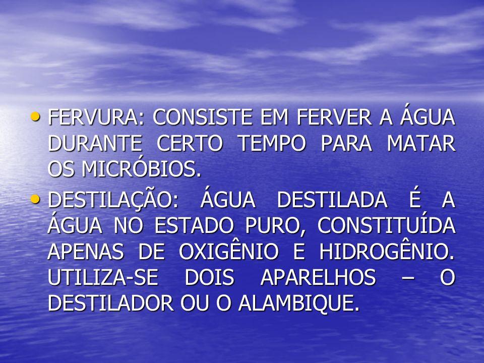FERVURA: CONSISTE EM FERVER A ÁGUA DURANTE CERTO TEMPO PARA MATAR OS MICRÓBIOS. FERVURA: CONSISTE EM FERVER A ÁGUA DURANTE CERTO TEMPO PARA MATAR OS M