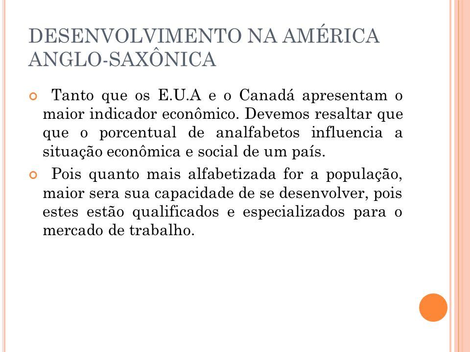 DESENVOLVIMENTO NA AMÉRICA ANGLO-SAXÔNICA Tanto que os E.U.A e o Canadá apresentam o maior indicador econômico. Devemos resaltar que que o porcentual