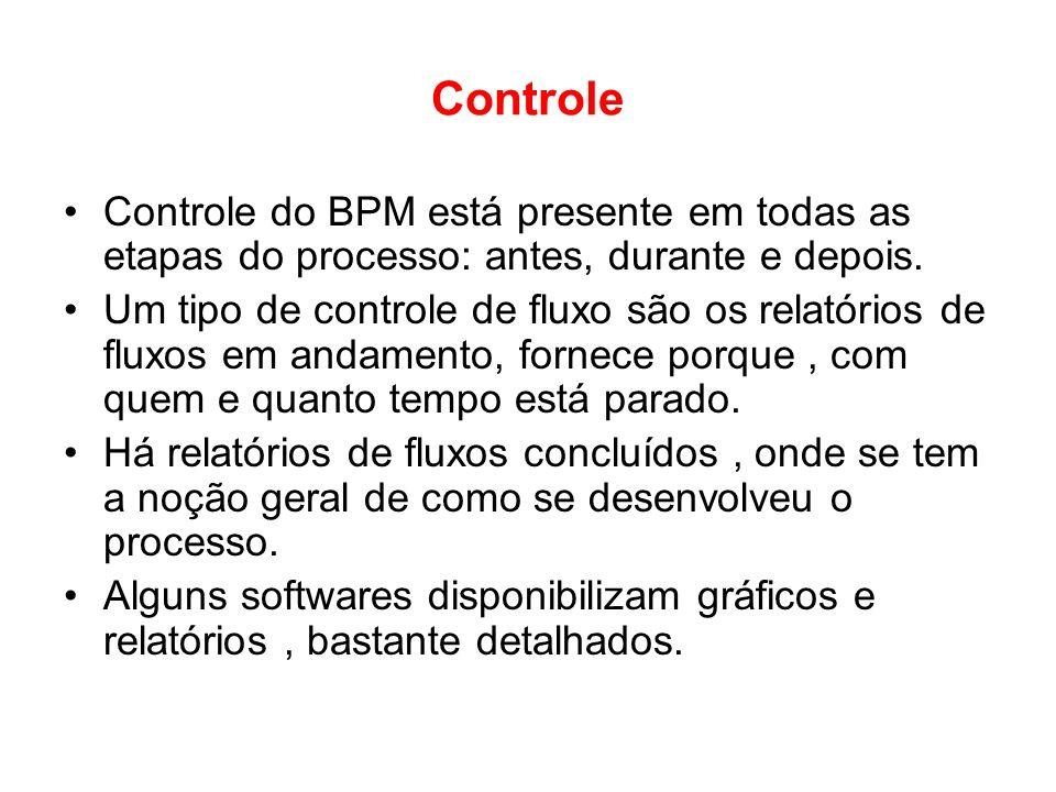 Controle Controle do BPM está presente em todas as etapas do processo: antes, durante e depois. Um tipo de controle de fluxo são os relatórios de flux