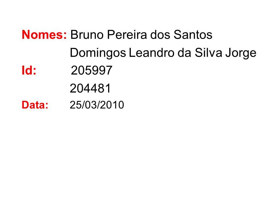 Nomes: Bruno Pereira dos Santos Domingos Leandro da Silva Jorge Id: 205997 204481 Data: 25/03/2010