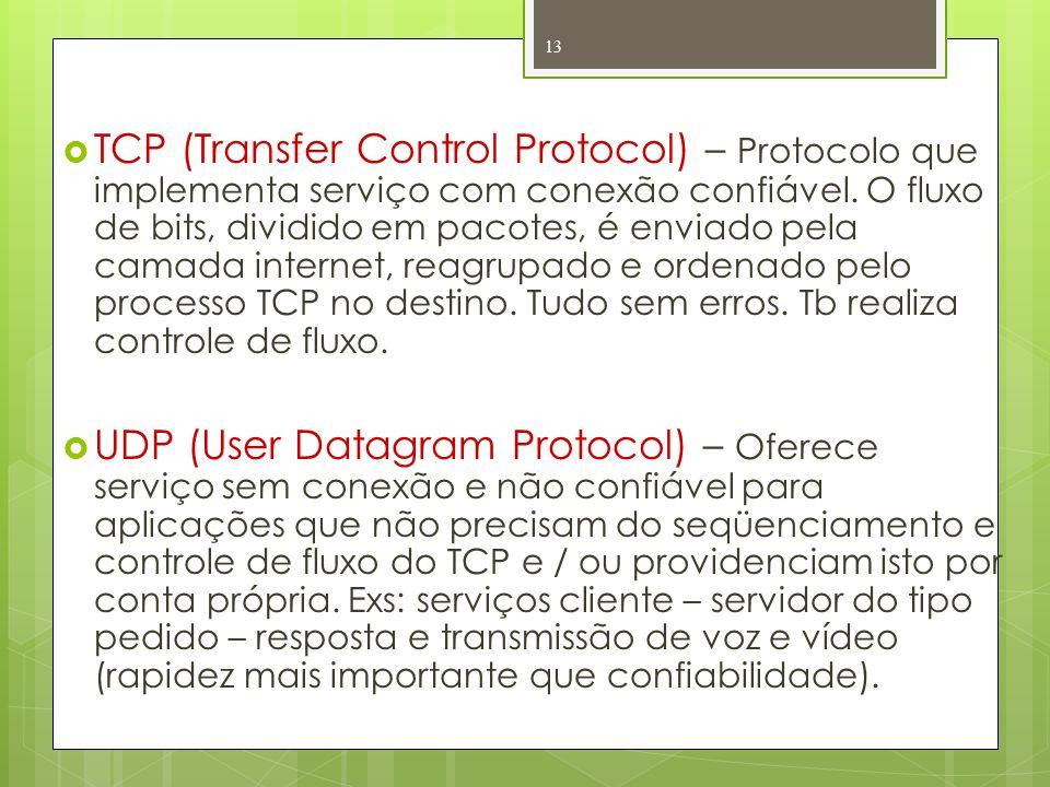 TCP (Transfer Control Protocol) – Protocolo que implementa serviço com conexão confiável. O fluxo de bits, dividido em pacotes, é enviado pela camada